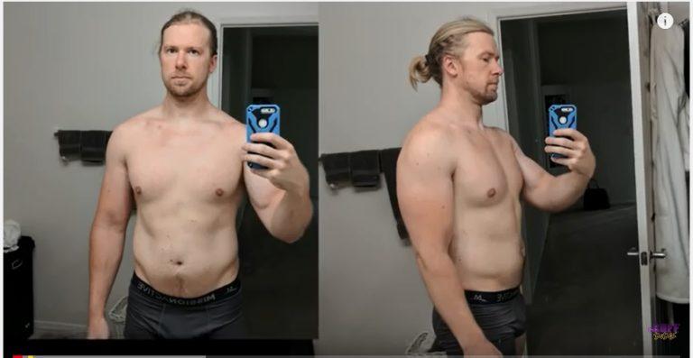 Slik så han ut før han begynte treningsprogrammet. Sånn ser han ut bare få måneder etter!